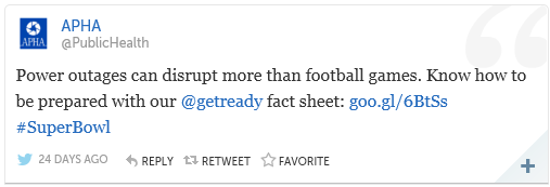 """Screen capture of American Public Health Association tweet, """"Power outages can disrupt more than football games. Know how to be prepared with our Get Ready fact sheet."""""""