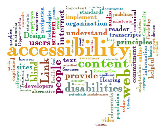 Word cloud with terms related to accessibility.